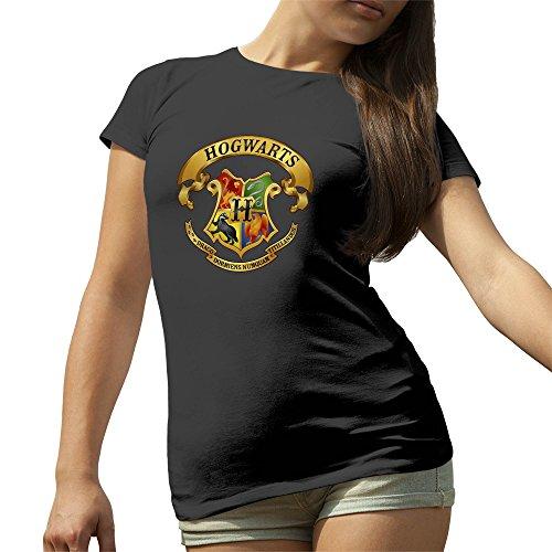 Harry Potter School Hogwarts Color Artwork Nero T-Shirt maglietta per le donne Small