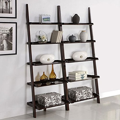 Cool Decorative Walnut 5-shelf 2-piece Leaning Ladder Bookcase Bookshelf Set 2 Shelf 5 Shelf Bookcase