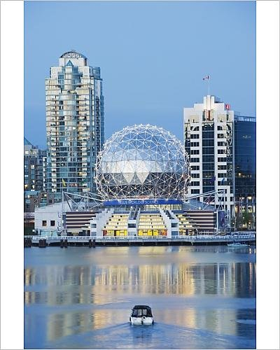 photographic-print-of-telus-science-world-and-a-boat-on-false-creek-vancouver-british-columbia