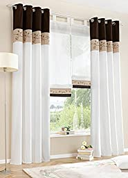 Uphome 1-Pair Bamboo Fabric Embroidered Window Curtain Panels - Stitching Color White Semi-light Window Treatments,57 x 102 Inch,Coffee