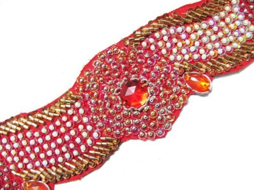 Hand Beaded Trim Ribbon Red Gold Sequin Motif 1.5 Yard