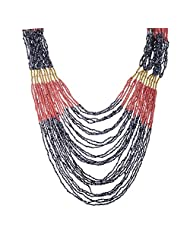 The Fine World Pine And Brass Light Pink And Gray Necklace For Women