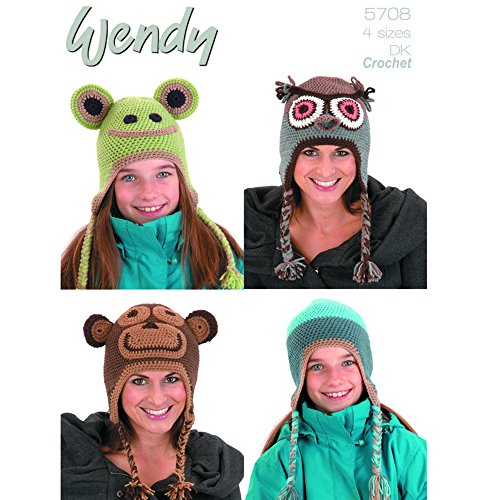 Wendy ~Unisex Animal Hats~ CROCHET DK PATTERN *Choice of Two* - 5708, Frog, Monkey, Owl Hats