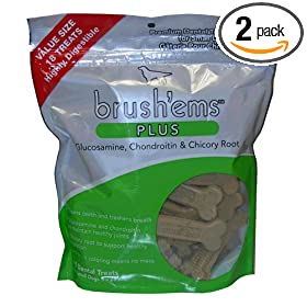 Brush'ems Plus Premium Dental Treats for Small Adult Dogs 18-Count Pouch 11.5-OUNCE ( Pack of 2 )