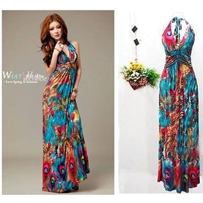 DatConShop(TM) Women Summer Boho Halter V-Neck Maxi Evening Party Beach Long Dress Skirt