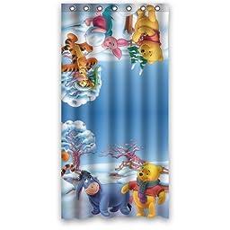 Cartoon Winnie the Pooh Cute Bear Winter Day Custom Design Shower Curtain Personalized Bath Curtain 36 x 72 Inch