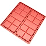 Freshware CB-810RD 2-Cavity Silicone Mold for Making Break-Apart Chocolate Bars, Protein and Energy Bites, and More