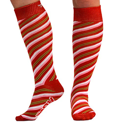 Yakety Yak! Knee High Socks - Candy Cane With Bow