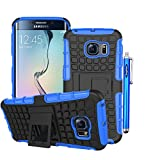 Samsung Galaxy S6 Edge Case, Sophia Shop Samsung Galaxy S VI 6 Edge (2015 Realease) Soft Inner+Hard Armor Shell 2 in 1 Tough Protective Cover Skin Case, with [Built-in Kickstand][Shock Proof][Anti-Slip][Scratch Resistant] Function Heavy Duty Durable Tough High Impact Hybrid Black Hard Shell with Soft Multi-color Option TPU Cover Rugged Case for Samsung Galaxy S6 Edge Carrier Compatibility Verizon, AT&T, T-Mobile, Sprint, International Carriers. (Not Compatible with Galaxy S6.) (Blue)
