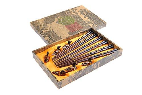 """Abacus Asiatica: """"Rainures"""" élégant lot de baguettes chinoises dans une boite décorative, baguettes de bois sculptées (6 paires de baguettes avec"""