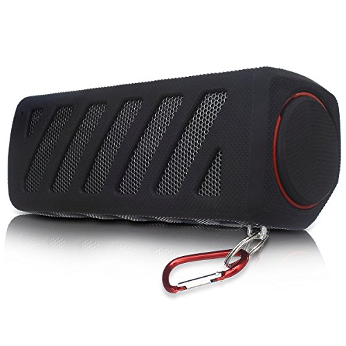 Portable NFC Waterproof Super Bass Resonance Bluetooth Wireless Speaker With Power Bank Bluetooth CSR 4.0 Technology Compatible Outdoor Sport/ Climbing Stereo With Metal Snap Hook (Black)