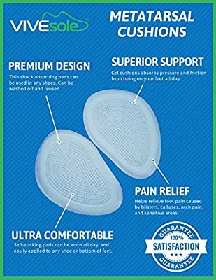 Gel Metatarsal Support Pads by VIVEsole - Best Ball of Foot Cushions To Help Relieve Foot Pain,Blisters,Metatarsalgia,Calluses,Achy Feet, Plantar Fasciitis Relief - Absorbs Pressure, Friction and Shock - 100% Satisfaction Guarantee