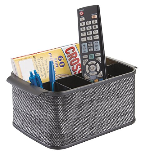 mDesign Storage Organizer Caddy for TV Remote Controls, Magazines - Black (Newspaper Storage Container compare prices)