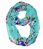 WishCart? Women's Infinity Scarf Light Weight Flower And Trees Printed,Size Bigger Then Others(Light Blue)