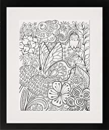 A Butterfly Landing - Personalized Wall Art 16x20 Matted DIY Giant Coloring Poster Artwork to Color or Paint & Hang (Frame Not Included)
