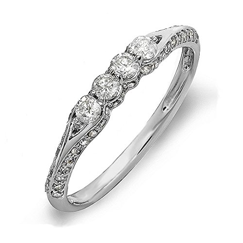 0.50 Carat (ctw) 14k White Gold Round Diamond Ladies Anniversary Wedding Band Ring Stackable 1/2 CT (Size 5)