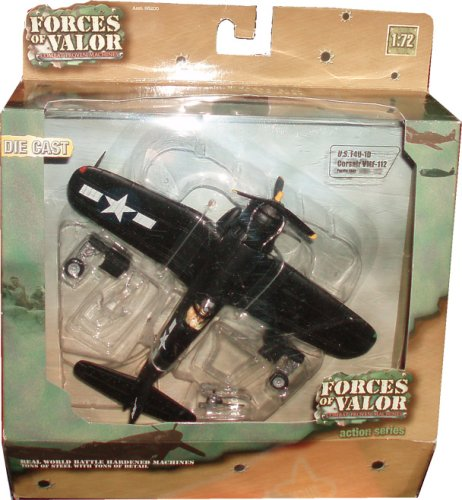 Forces of Valor 1:72 Scale Die Cast Military Combat Proven Machines Battle Hardened Plane - U.S. F4U-1D Corsair VMF-112 Pacific 1945