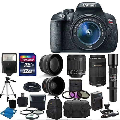 Canon Eos Rebel T5I 18.0 Mp Cmos Digital Camera Body And Ef-S 18-55Mm F3.5-5.6 Is Stm With Canon Zoom Telephoto Ef 75-300Mm F/4.0-5.6 Iii Autofocus Lens + Telephoto 500Mm F/8.0 T- Mount Lens (Long) With 58Mm 2X Professional Lens +High Definition 58Mm Wide