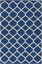 Blue Rug Modern Chic Design 4-Foot x 6-Foot Cotton Flat-Woven Diamonds Dhurry