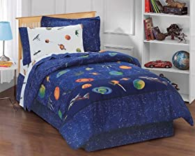 Cool Boys Outer Space Satellites Blue Bed in a Bag Childrens Bedding Collections price