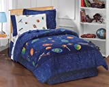 Boys Blue Outer Space Satellites 8 Piece Full Comforter Set