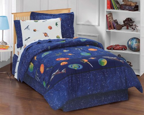 Dream Factory Boys Outer Space Satellites Blue Bed In A Bag, Twin, White