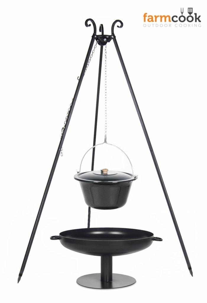 Dreibein Grill VIKING Höhe 180cm + Emaillierter Topf 10 Liter + Feuerschale Pan41 Durchmesser 60cm bestellen