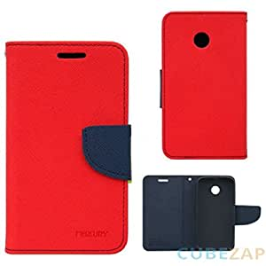 BRAND AFFAIRS Luxury Mercury Goospery Fancy Wallet Imported Original Premium Quality Fancy Folding Flip Folio with Stand View Faux Leather Mobile Flip Cover and 2 cards slot Stand Case Cover For Samsung Galaxy J1 (Red)