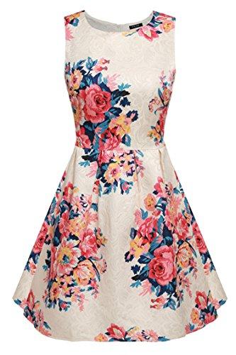 ACEVOG Vintage Floral Spring Garden Party Picnic Dress Party Cocktail Dress