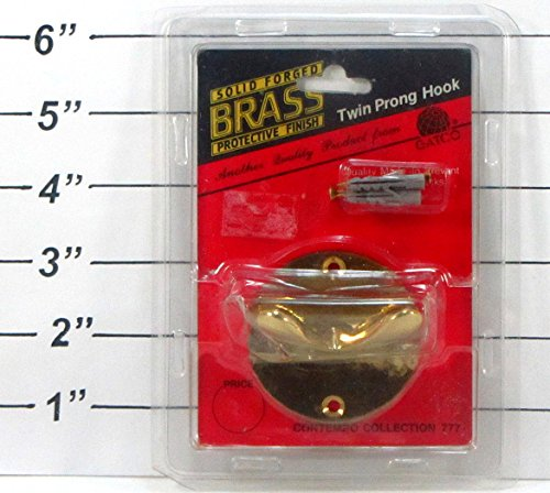 Solid Forged Brass Protective Finish Twin Prong Hook front-401739