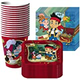 Jake & the Neverland Pirates Party Supplies Pack Including Plates, Cups and Napkins- 16 Guest