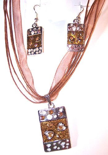 Silvertone with Brown Copper Color Enamel Abstract Necklace and Earring Set Nickle Free