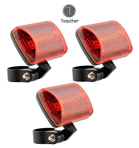 Togather® 3pcs in bicicletta posteriore coda 5 LED sicurezza luci lampada frontale per bici