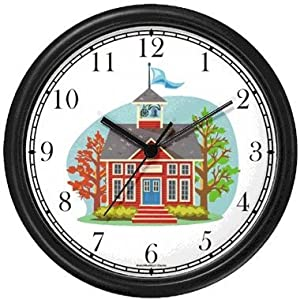 Little Red School House Wall Clock by WatchBuddy Timepieces (Black Frame)