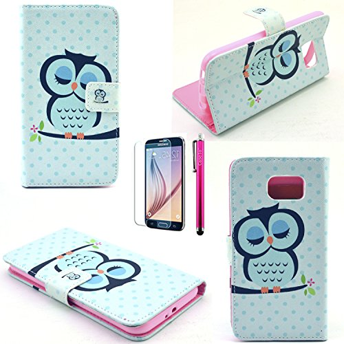S6 Case, JCmax Owl Pattern [Wallet Feature] Top Grade PU Leather Cover With Folio Flip Stand Feature For Samsung Galaxy S6 (1 x screen protector 1 x stylus pen)-Owl