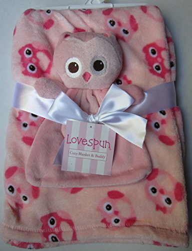 Lovespun Pink Blanket with Pink Owl Security Blanket