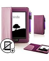 """ForeFront Cases® - Étui en cuir synthétique pour Kindle Paperwhite 6"""" 3G + Wi-Fi - fermeture magnétique avec mise en veille automatique - stylet et protection écran inclus - Violet"""