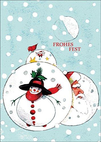 Fröhliche Weihnachtskarte - Weihnachtskugeln mit Schneemann und Nikolaus im Schneegestöber: Frohes Fest • auch zum direkt Versenden mit ihrem persönlichen Text als Einleger.
