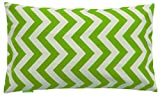 JinStyles Cotton Canvas Chevron Striped Lumbar Accent Decorative Throw Pillow / Cushion Covers (Green & White, Rectangular, 1 Sham for 12 x 20 Inches Inserts)