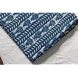 Handicraftofpinkcity Hand Block Print Cotton Fabric Indigo Dabu Print Cotton Fabric Indian Fabric #03
