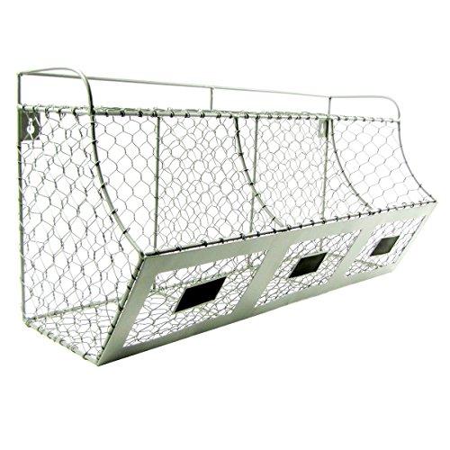 Rustic Chicken Wire Wall Storage 3 Bin Basket Primitive Country Farmhouse Decor (Chicken Wall Shelf compare prices)