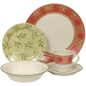 corelle impressions 20 piece dinnerware set service for 4 heirloom