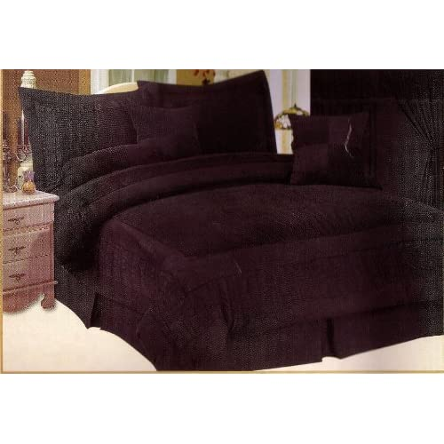 Amazon.com - Grandeur Brand New Micro Suede Black Comforter Bed in a Bag with Decorative Pillows ...