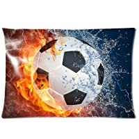 Soccer Ball Water and Fire (20 x 30) Cotton & Polyster Bedding Pillowcase Zippered Pillow Cover (Two Sides) from Generic