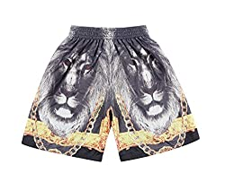 Pizoff Unisex Hip Hop colorful sports mesh Shorts with Animal Flower 3D Print