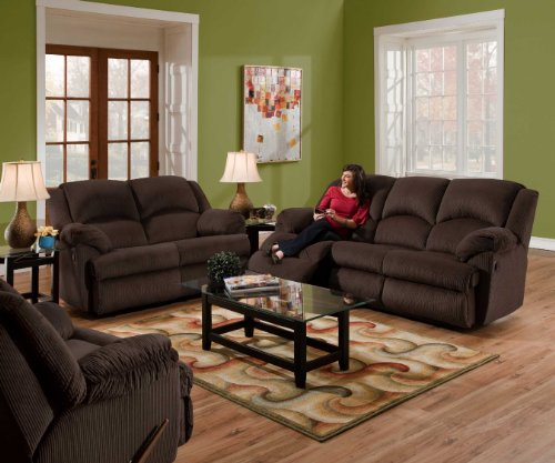 SIMMONS DOUBLE MOTION RECLINING SOFA LOVE SEAT CORDUROY CHAIR 3 PC CHARCOAL