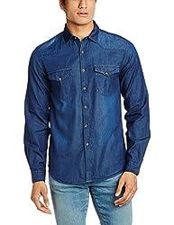 Highlander Men's Casual Shirt (13110001462365_HLSH008880_Small_Dark Blue)