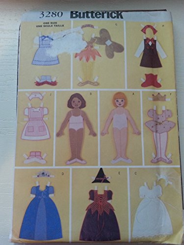 "Butterick Sewing Pattern 3280 12"" Fabric ""Paper"" Doll And Clothes front-286637"