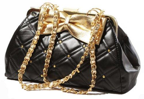 TRINA Golden Bow Black Diamond Quilted Clasp Closure Purse Satchel Handbag w/Detachable Shoulder Chain