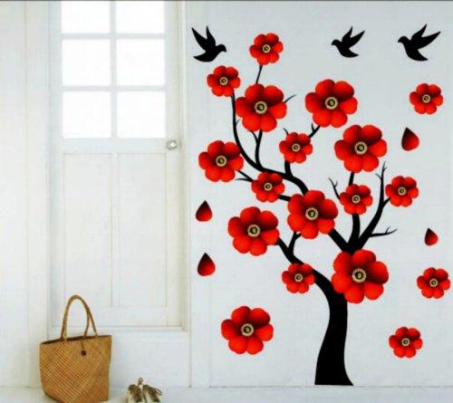 Adesivo per decorazione pareti 50x70 cm, ALBERO CON FIORI ROSSI